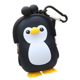 cartoon penguin bags 2019 - Wholesale- new cartoon penguin with hook silicone key bag baby kids girls coin purse change wallets lovely candy color c