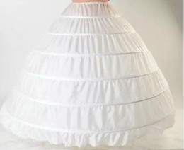 ball gown hoop skirts for 2019 - Ball Gown Petticoat Layes White Crinoline Underskirt Bridal Petticoats Wedding Dress Slip 6 Hoop Skirt Crinoline For Qui