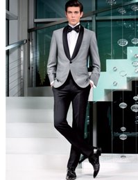 Barato Manto Preto Smoking-Ternos de homens bonitos em smoking de casamento Formal Custom Made One Piece Fit Best Black Collar Free Shipping Fatos de casamento Separates Bridegroom