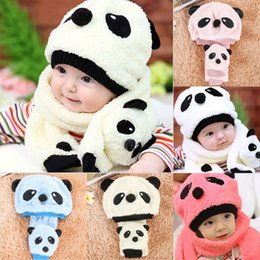 fd0b4d3bcdc 5 Colors Baby Girl Boy Kids Super Cute Lovely And Warm Children Soft Plush Panda  Cap Match Scarf Cartoon Hat with Scarf