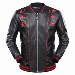 Barato Jaquetas De Couro Dos Homens Hoodies-2017 New Autumn Winter Men's Jacket Comprimento Manga Genuine Leather Hoodies Bordados Print Star Mens Zipper Outwear Casacos 9036