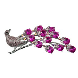 Barato Sapatos De Cristal De Pavão-118x63mm Rhinestone Peacock Crystal Wedding Brooch Bouquet Cake Decoração Hair Comb Shoe Clip Supply