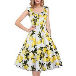 Dress stamps online shopping - Fashion Sleeveless square neck Lemon stamp idyllic printed zipper knee length dress summer hot sale casual dresses