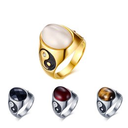 $enCountryForm.capitalKeyWord UK - Fashion Women Men Big Stone Wedding Rings Jewelry YIN YANG Titanium steel Opal Rings for Women Party Jewelry Wholesale