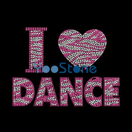 Wholesale i love dance for sale – custom Cheap i Love Dance Rhinestone Iron On Transfers Hot Fix Applique For Women s Clothing