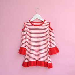 Barato Coreano Miúdos-Everweekend Girls Striped Ruffles Sweater Cute Baby Off Shoulder Tees Lovely Kids Candy Colorê Coreano Moda Outono Tops