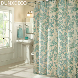 wholesale dunxdeco 1pc 180x200cm vintage country style birds flower polyester shower curtain bathroom waterproof curtain home decoration