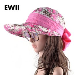 wholesale girls floppy hats 2019 - Wholesale- Girls summer sun hats for women folding wide brim visor cap ladies beach anti-uv caps women floppy bucket hat