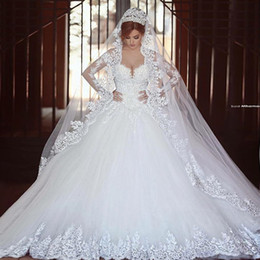 Discount amazing wedding dresses crystals - Saidmhamad Long Sleeves Lace Applique Crystals Ball Gown Wedding Dresses Chapel Train Amazing New Bridal Gowns