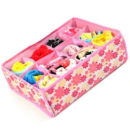 $enCountryForm.capitalKeyWord UK - 12 Grid Storage Box Bag Non-Woven Fabric Folding Case For Bra Socks Underwear organizer for cloth print storage TY2178
