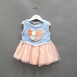Barato Amor Do Vestido Do Tutu Do Bebê-Atacado- Baby Kids Girls Jeans Lace Flower Love Tutu Vestido Ruffle Demin Tulle Dress 0-3Y