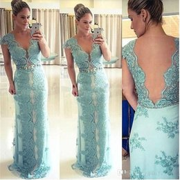 Barato Trem De Vestido De Renda Reta-Graceful Straight Prom Dresses 2017 Cap Sleeve Lace Applique Beading Sash Illusion Back Sweep Train Formal Evening Party Gowns