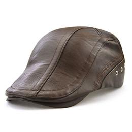 ac5c9aa609b Men Flat Cap PU Leather Vintage Newsboy Caps Ivy Cabbie Driving Hunting Caps  Adjustable Bucklen Curved Visor Duckbill Hats Unisex