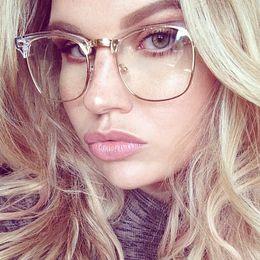 spectacles gold frame 2019 - Wholesale-Half Frame Clear Glasses Myopia Clear Frame Glasses Women Men Spectacle Frame Gold Clear Lens Optical Glass Lu
