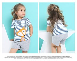 $enCountryForm.capitalKeyWord Canada - new style summer European and American style girlschildren cloth Suit short-sleeved cottonshirt+pants girls children's suit fox two piece