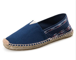 Chinese  Unisex Canvas Fisherman Shoes 2017 New Straw Soled Flat Shoes For Men And Women Slip-on Casual Loafers Espadrilles Plue Size 35-45 manufacturers
