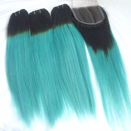 $enCountryForm.capitalKeyWord NZ - Two Tone Ombre Brazilian Virgin Hair Bundles With Lace Closure T1b Green Straight Human Hair Weaves Extensions Remy Double Weft 4pcs Lot
