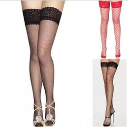 fishnet tops wholesale Canada - Wholesale-Fantastic Women Lace Top Sexy Lingerie Black Fishnet Thigh High Stocking ,Free shiipping