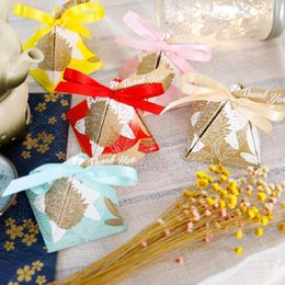 European Style 5pcs Triangular Flower Paper Candy Boxes Kids Birthday Party Wedding Gift Bag Chocolate Package With Ribbons Tags