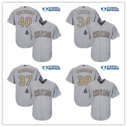 bb65c2a43ec sale mens chicago cubs 34 kerry wood brett anderson carlos zambran gray  world series champions gold