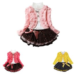 Girls tutu dress coat online shopping - Three piece Girls Overskirt New Knitted Dress Kids Clothing Sets Long Sleeve Coat Skirts Rose Lace Short Dress T