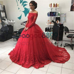 Short Red Lace Prom Vintage Dress Australia - Vintage Red Ball Gown Lace Prom Dresses 2017 Modest Middle East Dubai Arabic Off-shoulder Long Sleeve Occasion Evening Princess Dress