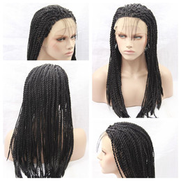 Glueless Wig Braids For Canada - Charming Sexy Twist Braids Lace Front Wigs Black Heat Resistant Lace Front Box Braid Wigs Glueless Lace Box Braids Wigs for Black Women