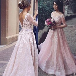 Barato Blush Vestidos Coloridos-Árabe 2017 Blush Pink Colored Wedding Dress A Line V Neck Lace Appliques Sequined Tulle Backless Bridal Gowns com ilusão Half Sleeves