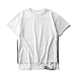 403d0574230 Front Short Back T Shirt Men Summer Solid Net Yarn Splicing Streetwear  Casual Cotton Men Tops Tees Mens Clothing