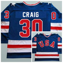 usa ice hockey jersey xxl Australia - 1980 Miracle On Ice Team USA 30 Jim Craig Ice Hockey Jerseys Blue White Stitched Usa Hockey Jerseys S-3XL