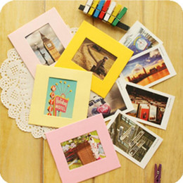 $enCountryForm.capitalKeyWord Canada - candy paper photo frames 10 boxes 3 inch rectangle colorful paper photo frame wall picture album DIY hanging rope film frames wall decors