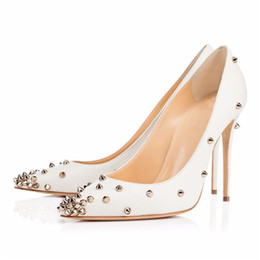 Chinese  New White Women Wedding Shoes High Heel Pumps Rivets Pointy Toe Stilettos Slip On Evening Party Shoes Lady Elegant Shoes manufacturers