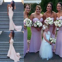 Barato Vestidos De Dama De Honra Simples-Vestidos de dama de honra projetados simples 2018 Mais novo Sereia Sweetheart Maid of Honour Gowns para Western Country Weddings Cheap Evening Prom Gowns