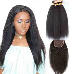 834ad5bf5844e0 Kinky Straight Virgin Brazilian Hair Weave 3 Bundles With Lace Closure  Natural Color 4pcs Lot Closure With Bundles Brazilian Coarse Yaki