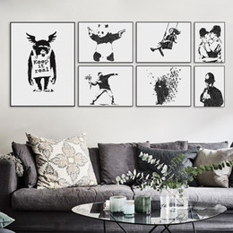 canvas prints banksy Canada - Modern Black White Banksy Poster Print Urban Graffiti Wall Art Picture Hipster Home Decor Girl Peace Canvas Painting No Frame