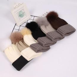 Discount beach head cap - 6 Colors Winter Beanie Tight Knitted Big Corful Fox Fur Pom Poms Hat Women Cap Winter Beanie Headgear Headdress Head War