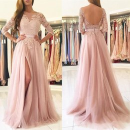 Barato Blush Vestidos De Renda Mangas-Blush Pink Front Split Evening Dresses Modest 2017 Half Sleeves Lace Appliques Tulle Long Prom Dress 2018 Custom Made