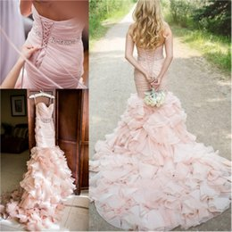 Robe Modeste Robe De Mariée Pas Cher-Modest Blush Robes de mariée en satin Mermaid Long Chapel Train Backless Ruffles Crystal Sash Plus Size Robes de mariée Pas cher