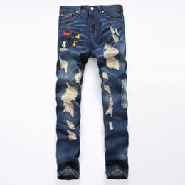 Discount famous clothing brands for men - Wholesale- 2016 New Fashion Ripped Jeans Men Famous Brand Clothing Straight Denim Jeans For Men Classic Blue Jeans With