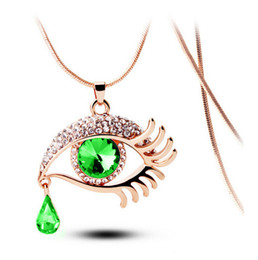 China Fashion Magic Crystal Teardrop Necklace 4 colors Gem Flirtatious tears eyelashes necklace long sweater Pendant necklace suppliers