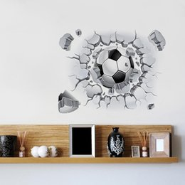 $enCountryForm.capitalKeyWord Canada - 10Pieces lot 3D PVC football wall stickers sitting room bedroom background decoration waterproof Can be removed