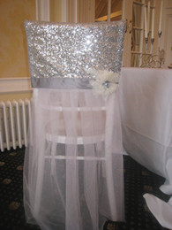 chinese chairs Canada - Sequined 3D Flower Tulle Vintage Chair Sashes Romantic Beautiful Chair Covers Cheap Custom Made Wedding Supplies