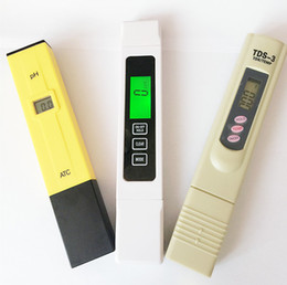 Wholesale 3 pcs lot TDS EC 0-5000 ppm Tester, PH ATC   TDS calibrate by hold TEMP botton meter, digital Pen,monitor water quality for