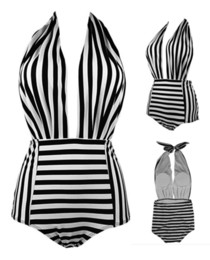 ladies padded swimwear UK - new style one-piece sexy bikini black&white stripe with bra pad no bra steel holder lady swimwear S-XL