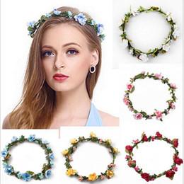 roses for hair 2019 - Bohemian Hair Crowns Flower Headbands Women Artificial Floral Hairbands Fashion Headwear for Girls Hair Accessories Beac