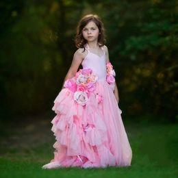 f045e504fa8 Handmade Flowers Pink Flower Girls Dresses For Weddings Tulle Backless Girls  Pageant Dress Floor Length Lovely Halter Kids Party Dress