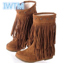 Chinese  Wholesale- 2016 Spring Women Autumn 3 Layer Fringe Tassels Flat Heel Boots Knee Boots Big Size Shoes 35-43 Snow Boots IWTM-8356 manufacturers
