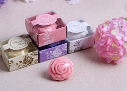 Baby Shower Gift Soaps UK - Free shipping 100pcs set Soap Rose Flower with Gift box Wedding Favors Baby Shower Party Christmas Gift 4 colors