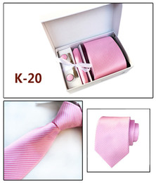 $enCountryForm.capitalKeyWord Australia - 2019 HOT Necktie set handkerchief Cufflink Necktie clips Gift box 20 colors for Father's Day Men's business tie Christmas Gif