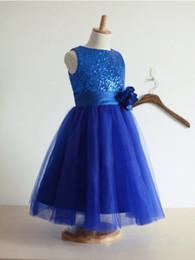 8f1d8918b 2019 una línea de azul real con lentejuelas purpurina vestido de niña con  flor hecha a mano azul niñas vestido de lentejuelas vestido de falda de tul